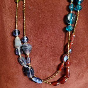 Dichroic Glass and Seed Bead Necklace Long Wrap
